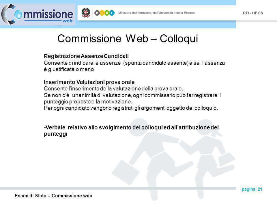 Commissione Web – Colloqui