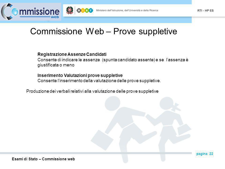 Commissione Web – Prove suppletive