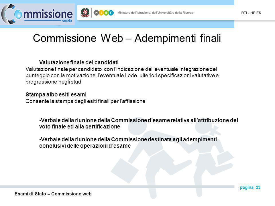 Commissione Web – Adempimenti finali