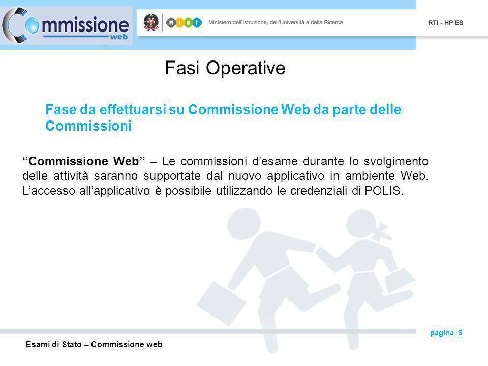 Fasi Operative Fase da effettuarsi su Commissione Web da parte delle Commissioni.