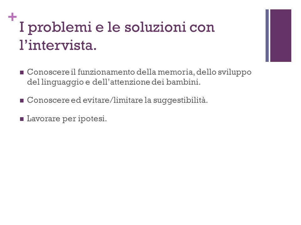 I problemi e le soluzioni con l'intervista.
