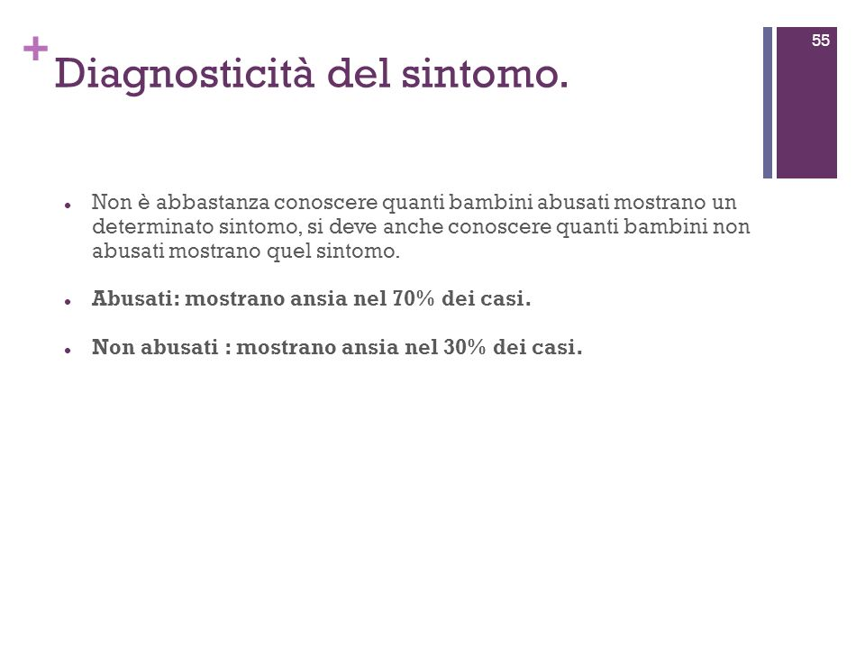 Diagnosticità del sintomo.