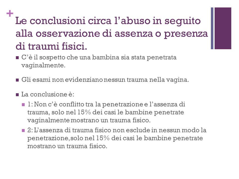 Le conclusioni circa l'abuso in seguito alla osservazione di assenza o presenza di traumi fisici.