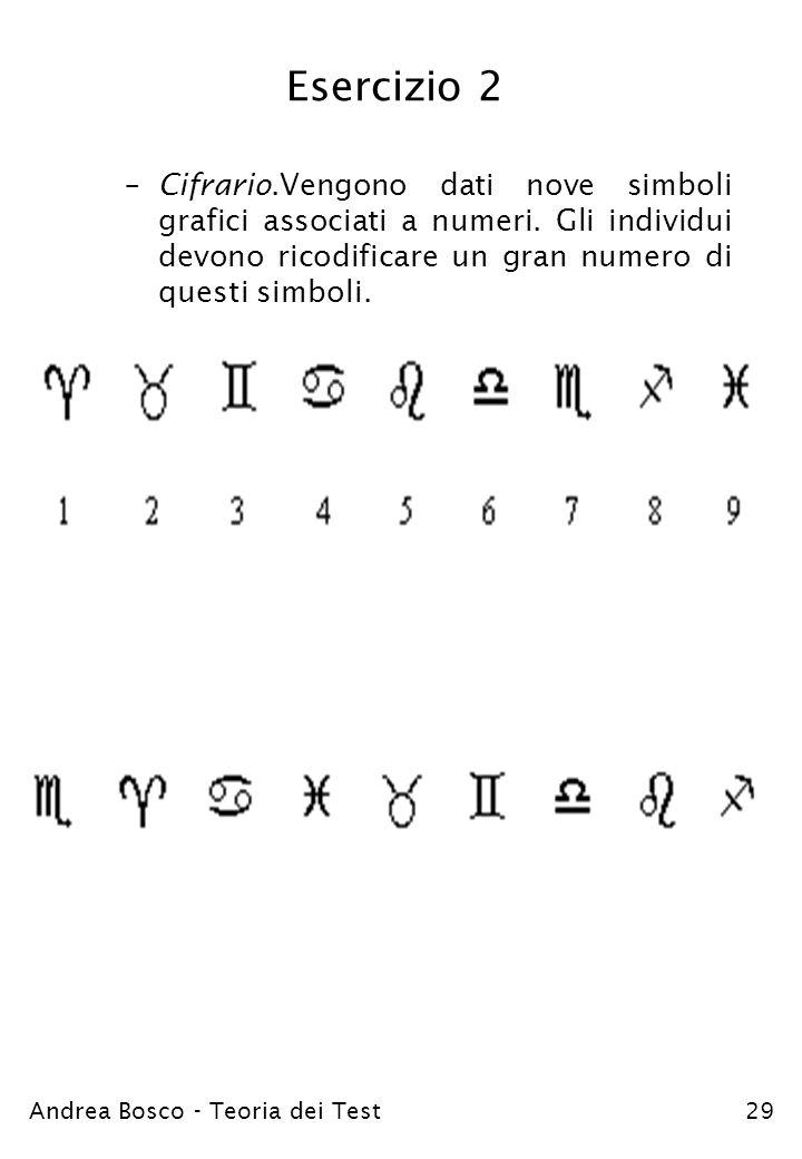 Esercizio 2 Cifrario.Vengono dati nove simboli grafici associati a numeri. Gli individui devono ricodificare un gran numero di questi simboli.