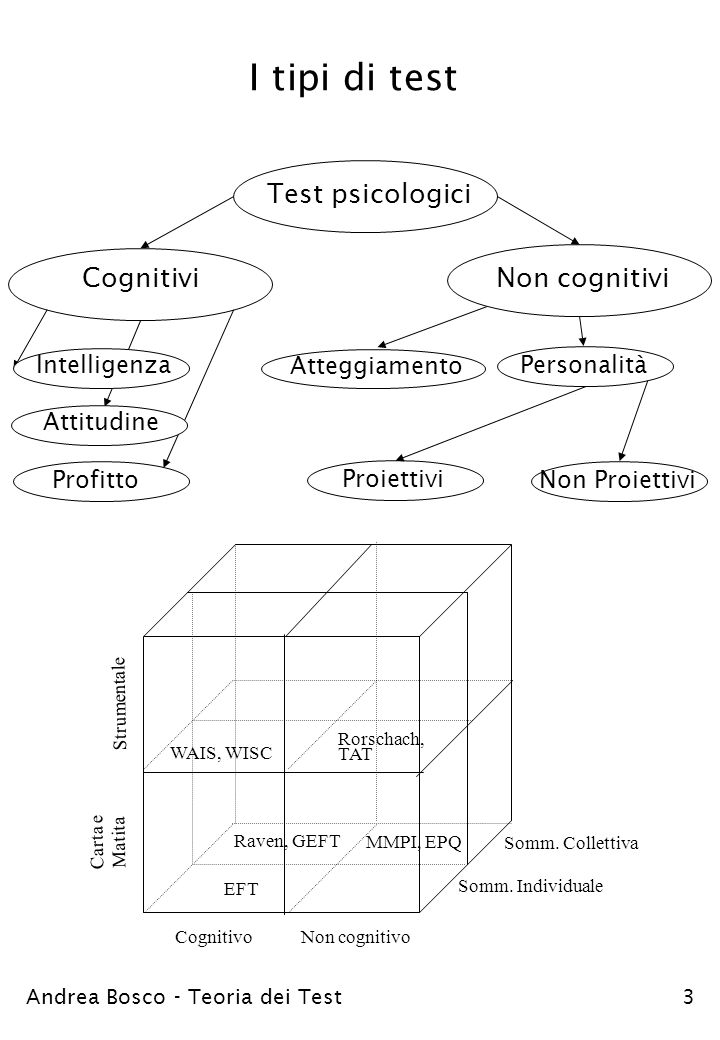 I tipi di test Cognitivi Test psicologici Non cognitivi Profitto