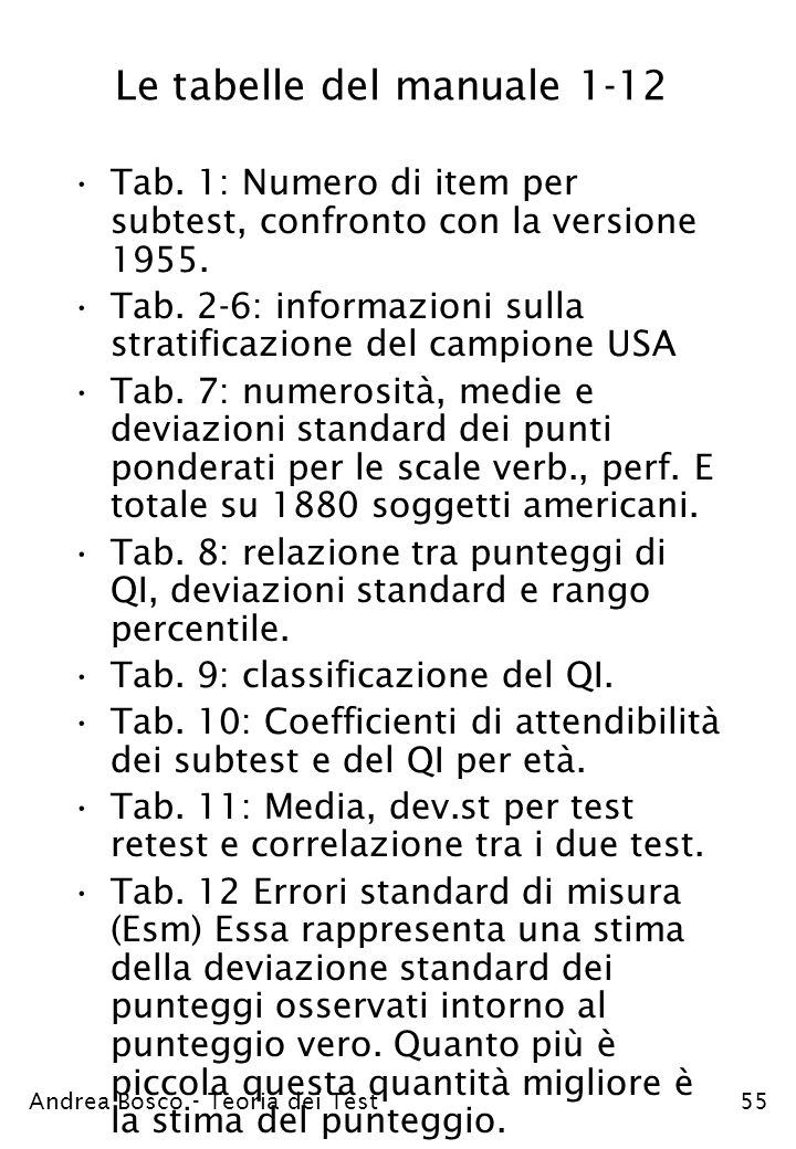 Le tabelle del manuale 1-12