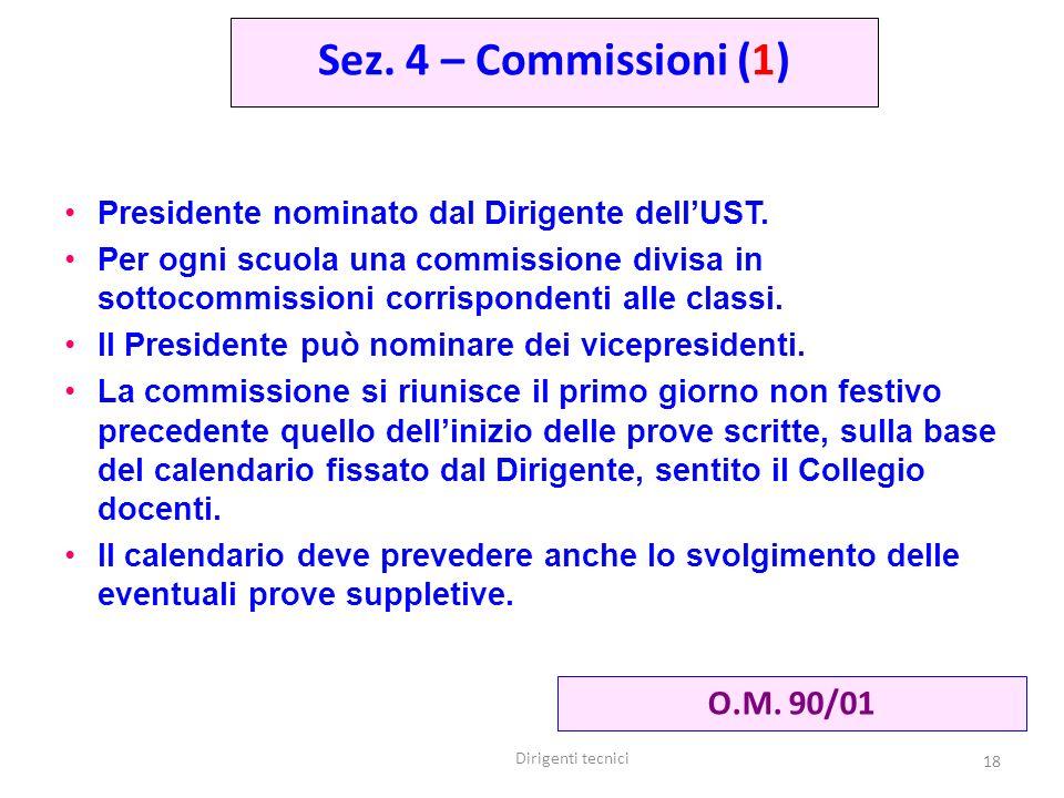 Sez. 4 – Commissioni (1) O.M. 90/01
