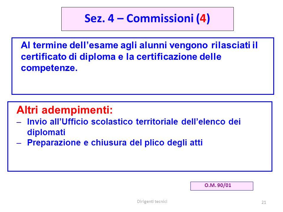 Sez. 4 – Commissioni (4) Altri adempimenti: