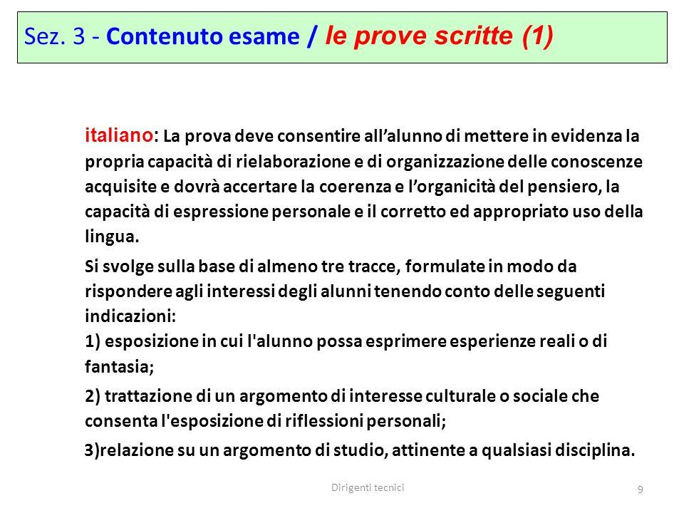 Sez. 3 - Contenuto esame / le prove scritte (1)