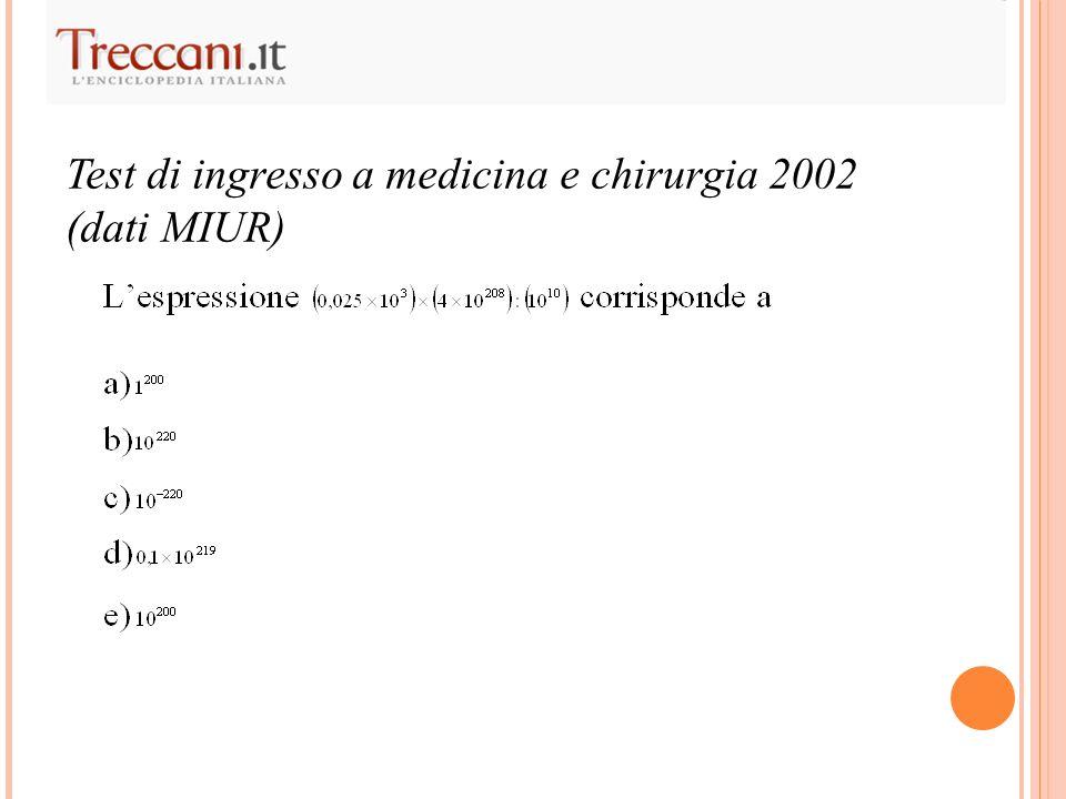 Test di ingresso a medicina e chirurgia 2002