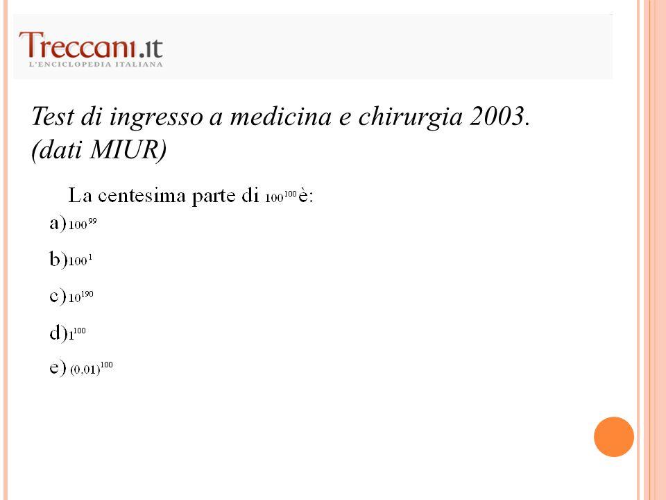 Test di ingresso a medicina e chirurgia 2003.