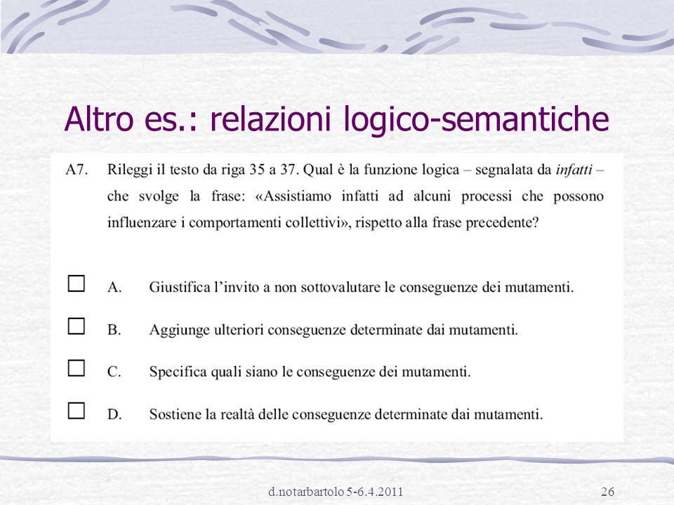 Altro es.: relazioni logico-semantiche