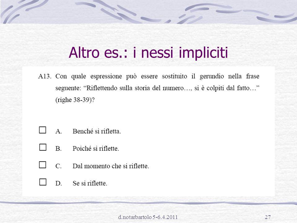 Altro es.: i nessi impliciti