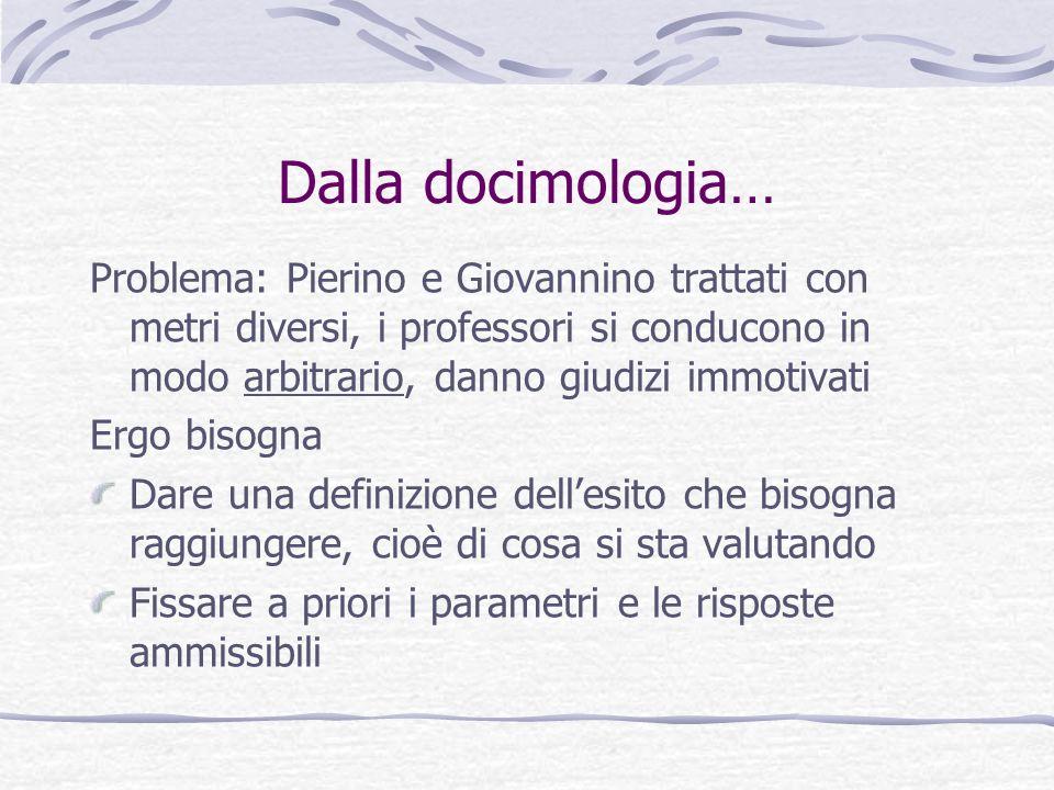 Dalla docimologia… Problema: Pierino e Giovannino trattati con metri diversi, i professori si conducono in modo arbitrario, danno giudizi immotivati.