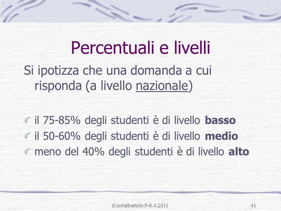 Percentuali e livelli Si ipotizza che una domanda a cui risponda (a livello nazionale) il 75-85% degli studenti è di livello basso.