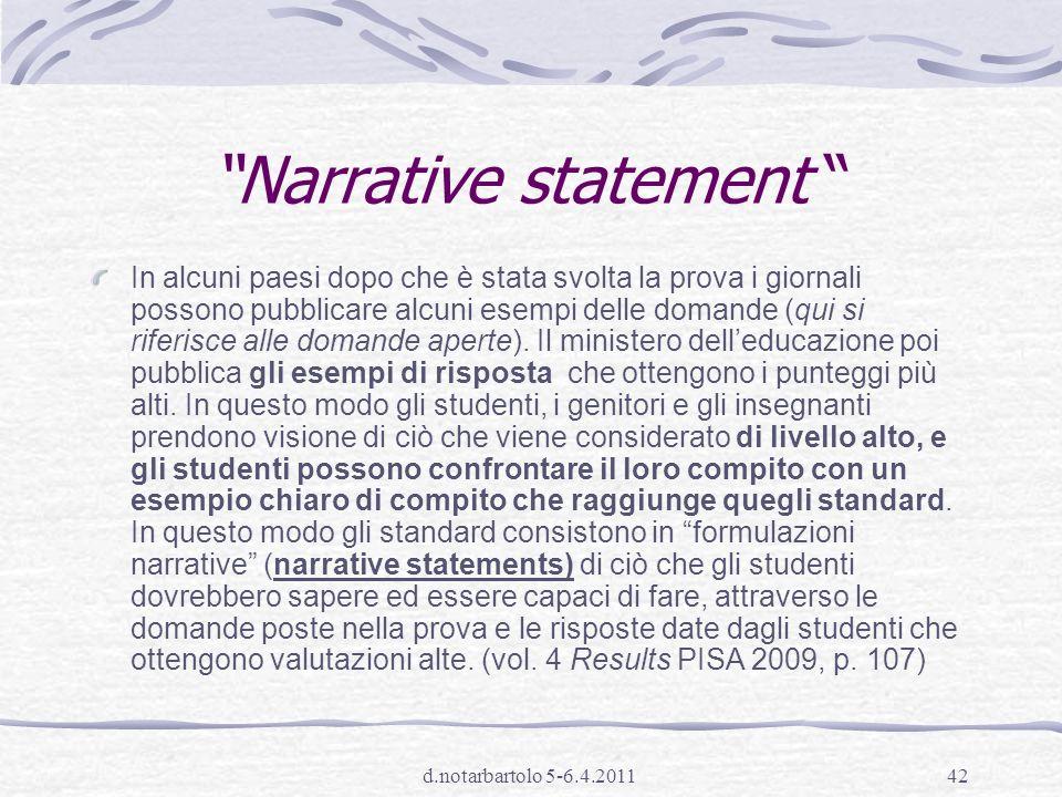 Narrative statement