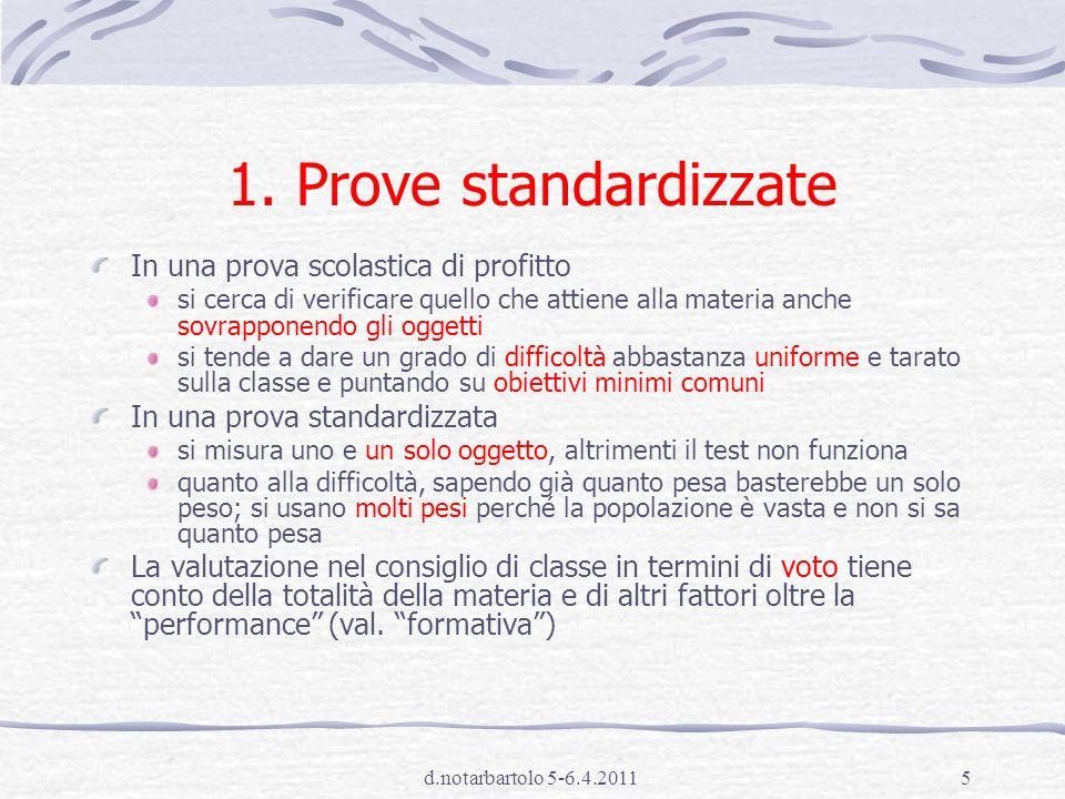 1. Prove standardizzate In una prova scolastica di profitto
