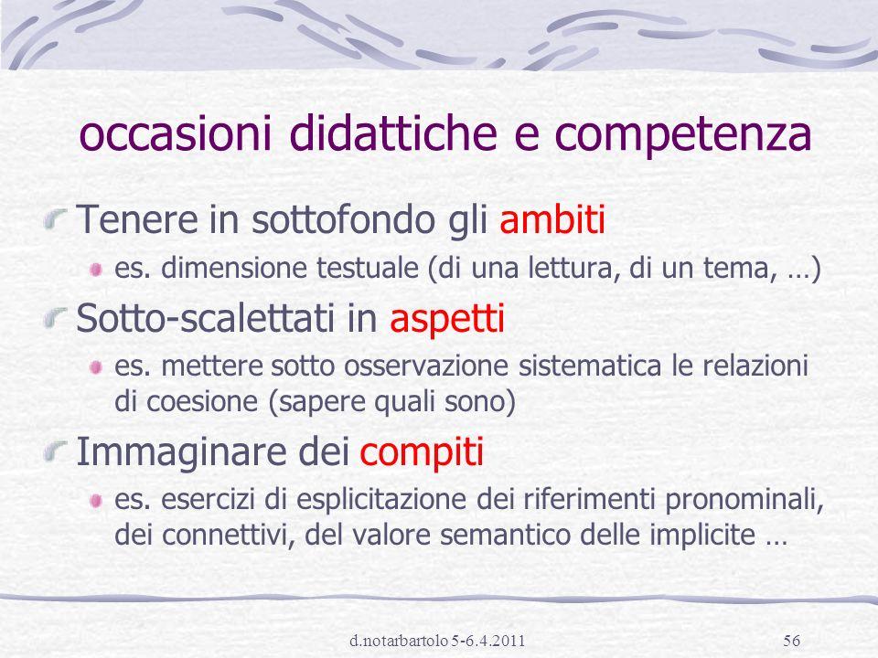 occasioni didattiche e competenza