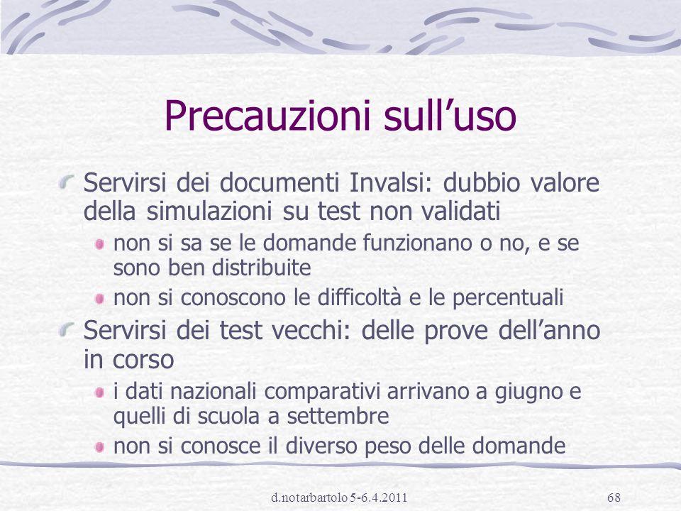 Precauzioni sull'uso Servirsi dei documenti Invalsi: dubbio valore della simulazioni su test non validati.