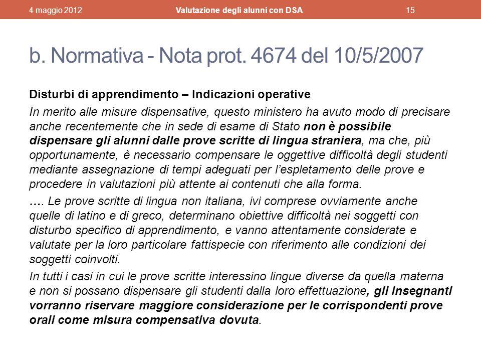 b. Normativa - Nota prot. 4674 del 10/5/2007