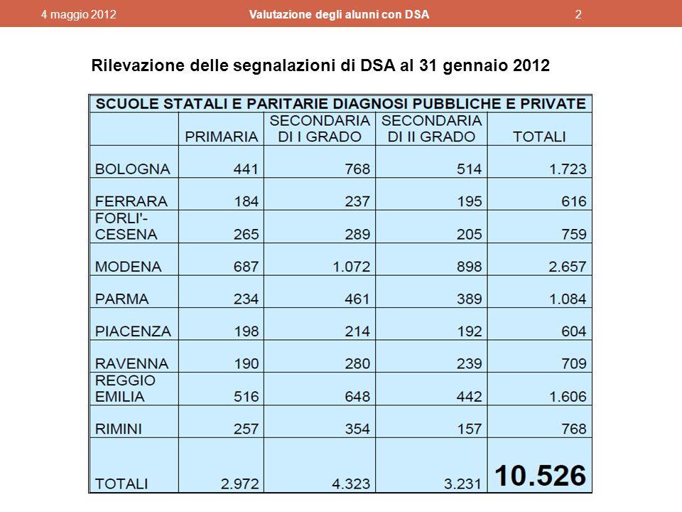 Rilevazione delle segnalazioni di DSA al 31 gennaio 2012