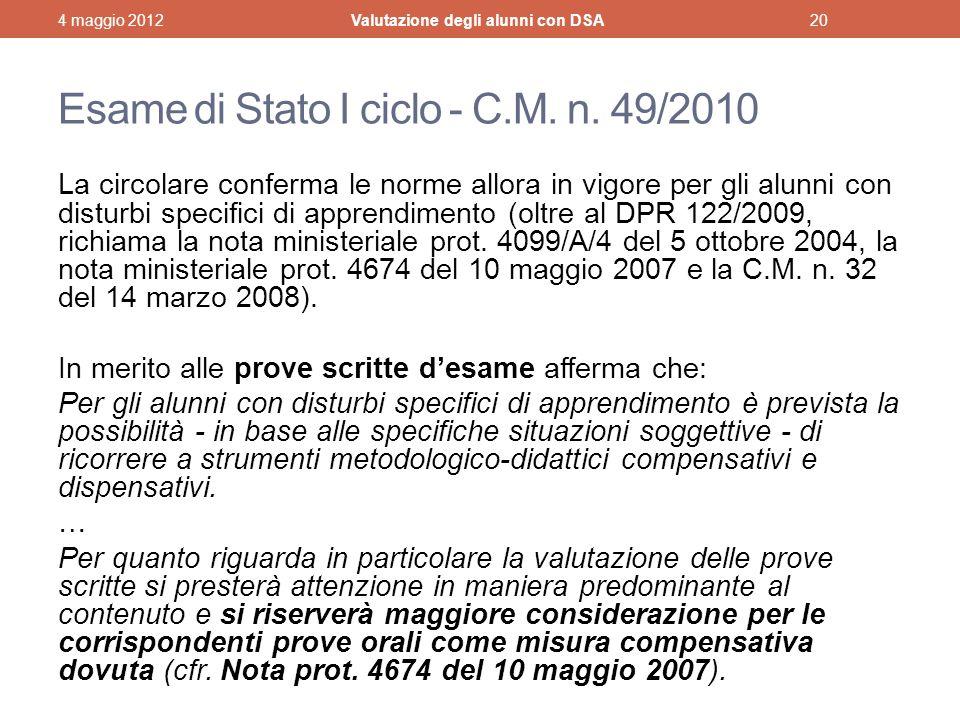 Esame di Stato I ciclo - C.M. n. 49/2010
