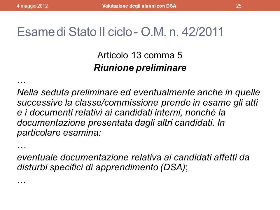 Esame di Stato II ciclo - O.M. n. 42/2011