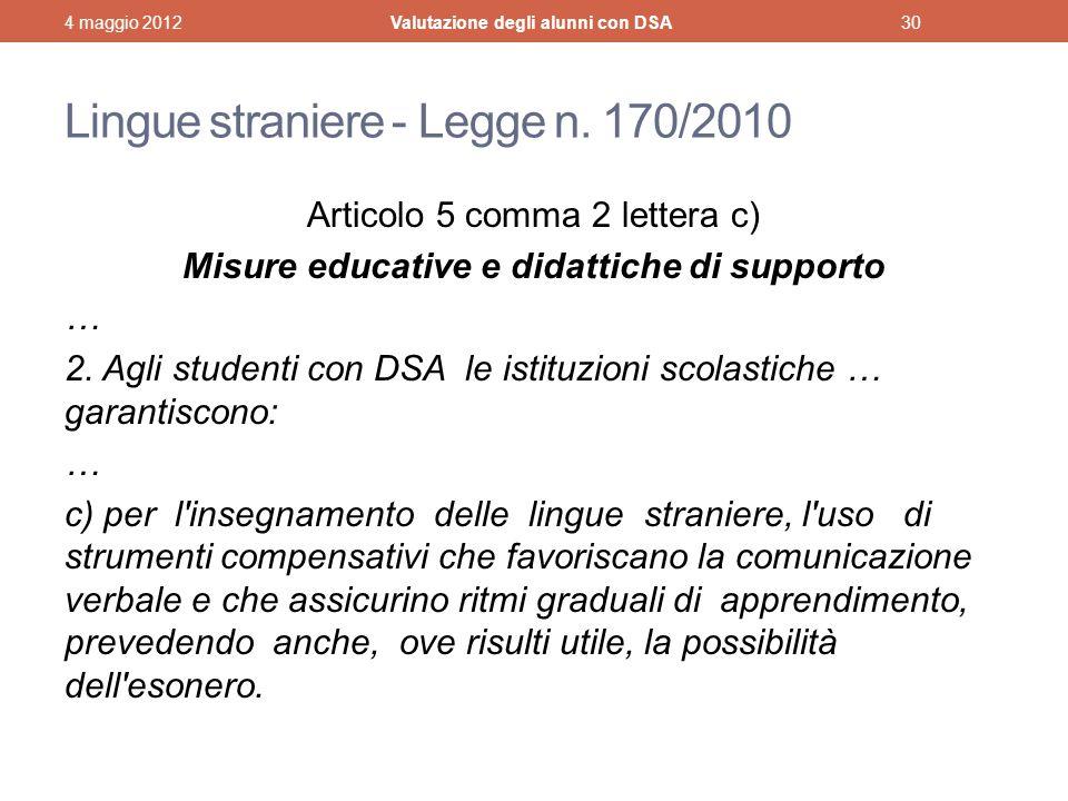 Lingue straniere - Legge n. 170/2010