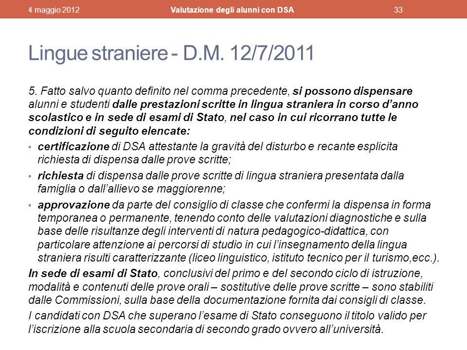 Lingue straniere - D.M. 12/7/2011