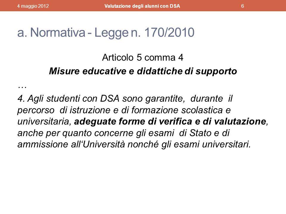 Valutazione degli alunni con DSA