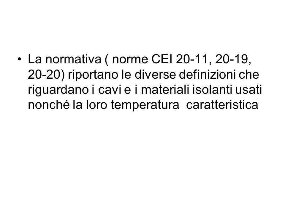 La normativa ( norme CEI 20-11, 20-19, 20-20) riportano le diverse definizioni che riguardano i cavi e i materiali isolanti usati nonché la loro temperatura caratteristica