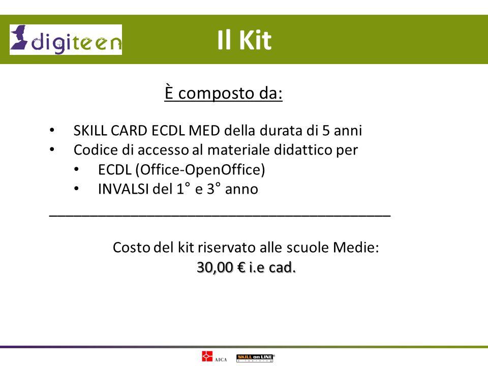 Costo del kit riservato alle scuole Medie: