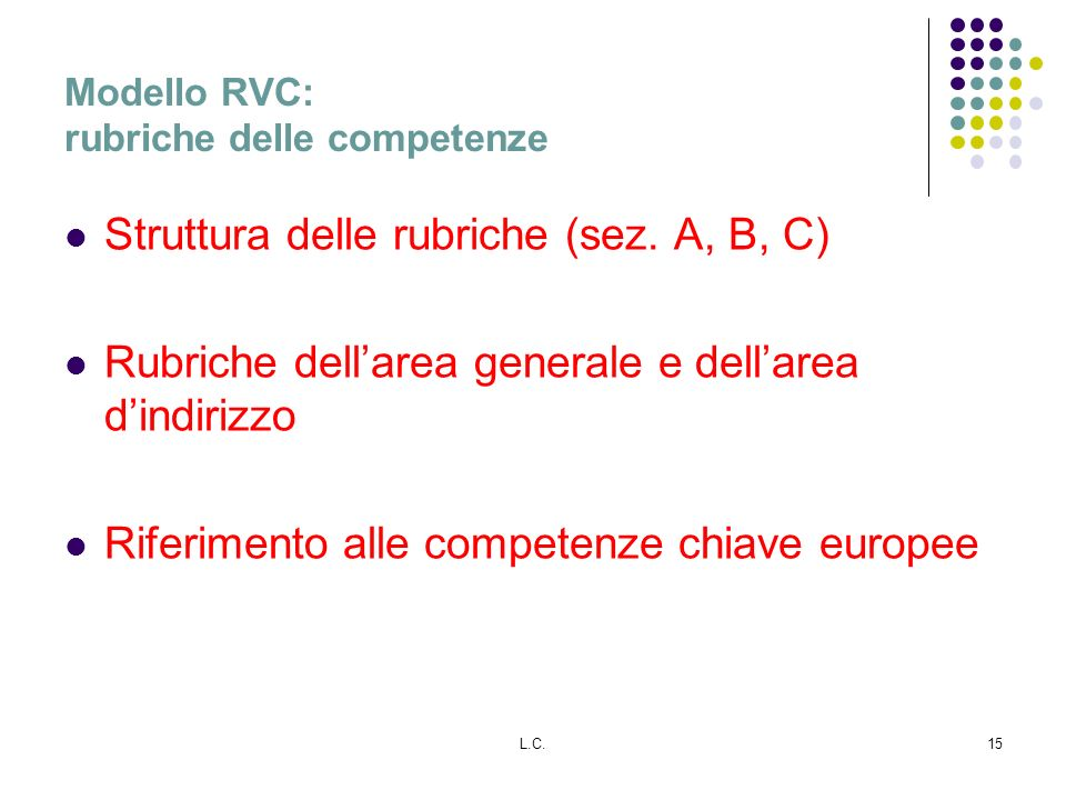 Modello RVC: rubriche delle competenze