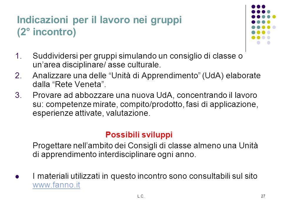 Indicazioni per il lavoro nei gruppi (2° incontro)