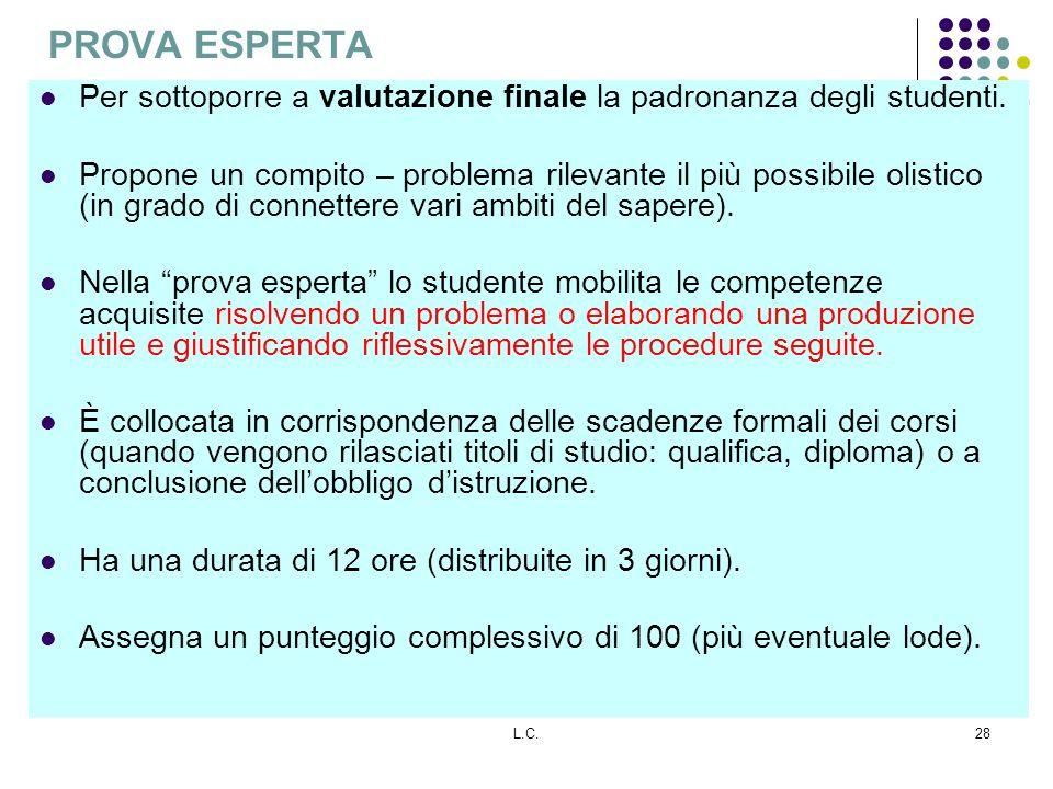 PROVA ESPERTA Per sottoporre a valutazione finale la padronanza degli studenti.