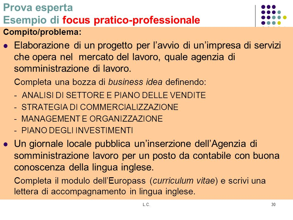 Prova esperta Esempio di focus pratico-professionale