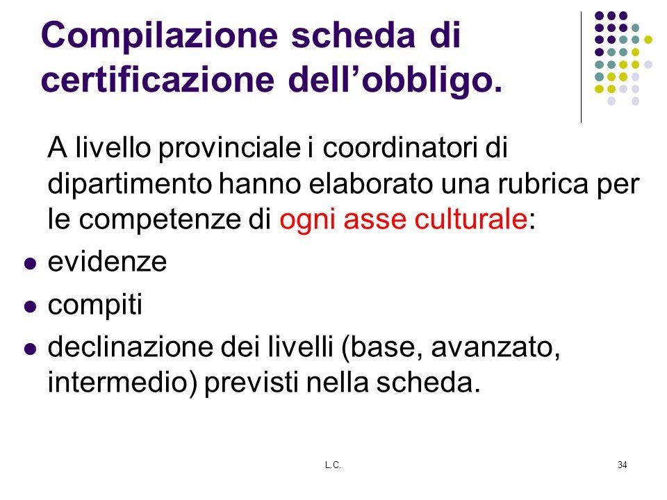 Compilazione scheda di certificazione dell'obbligo.