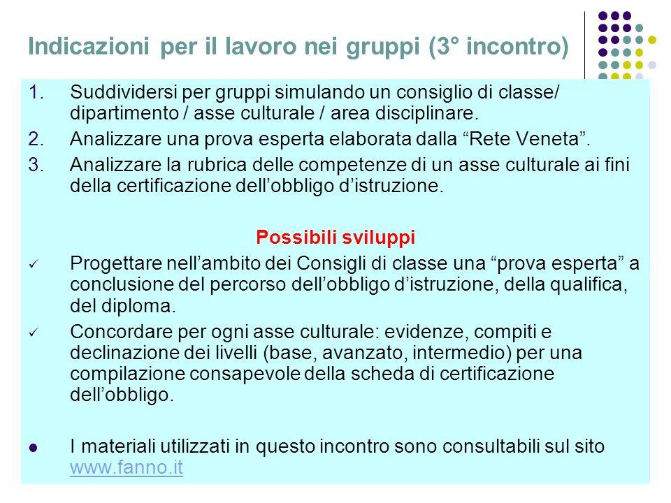 Indicazioni per il lavoro nei gruppi (3° incontro)