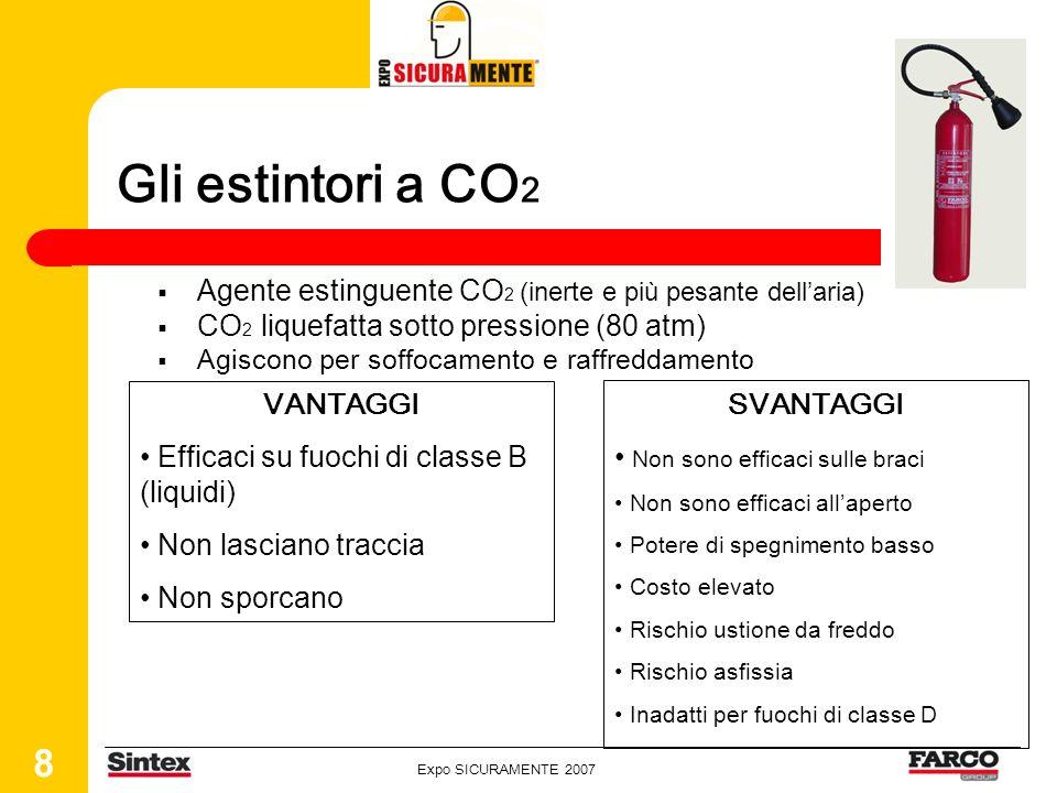 Gli estintori a CO2Agente estinguente CO2 (inerte e più pesante dell'aria) CO2 liquefatta sotto pressione (80 atm)