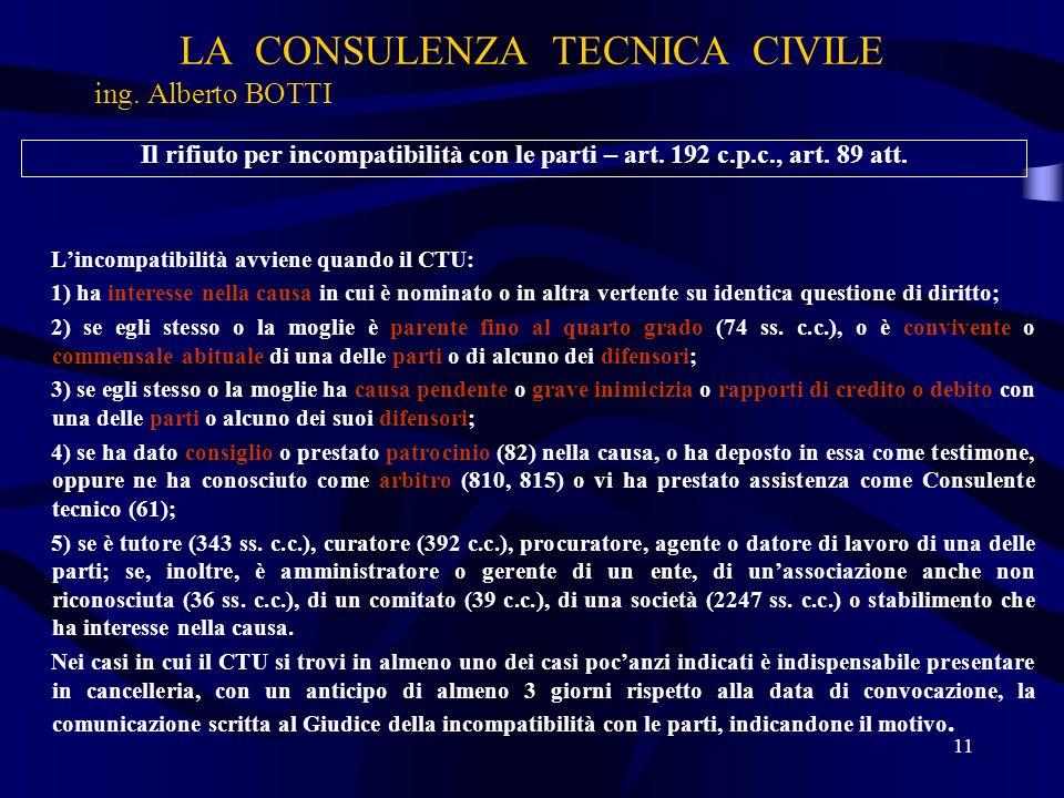 LA CONSULENZA TECNICA CIVILE ing. Alberto BOTTI