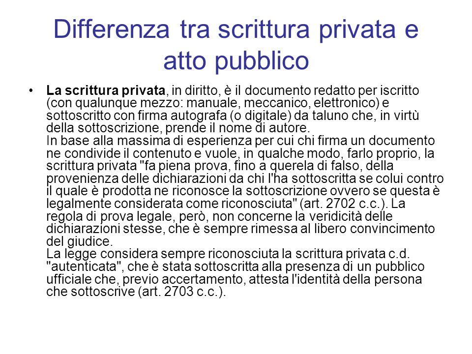 Differenza tra scrittura privata e atto pubblico