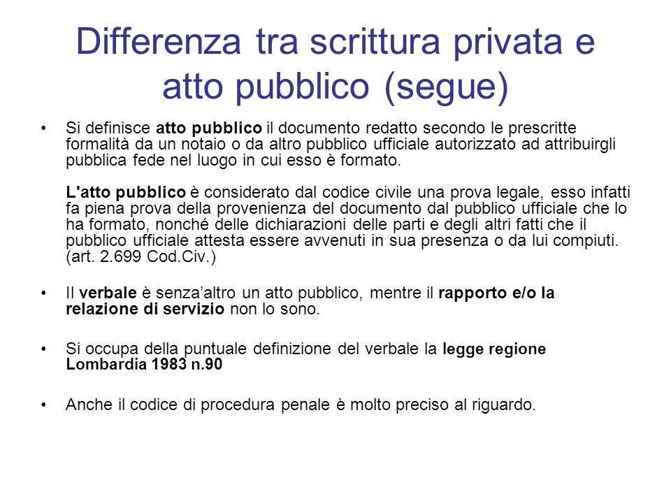 Differenza tra scrittura privata e atto pubblico (segue)