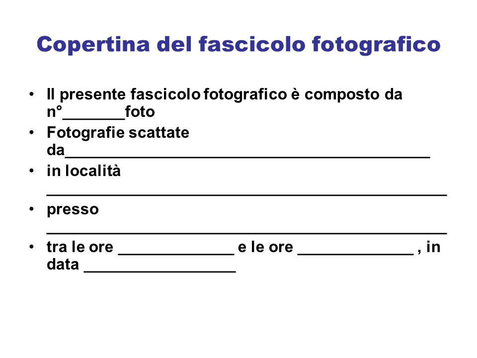 Copertina del fascicolo fotografico