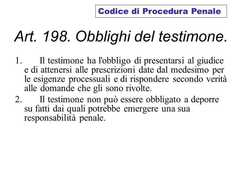 Art. 198. Obblighi del testimone.