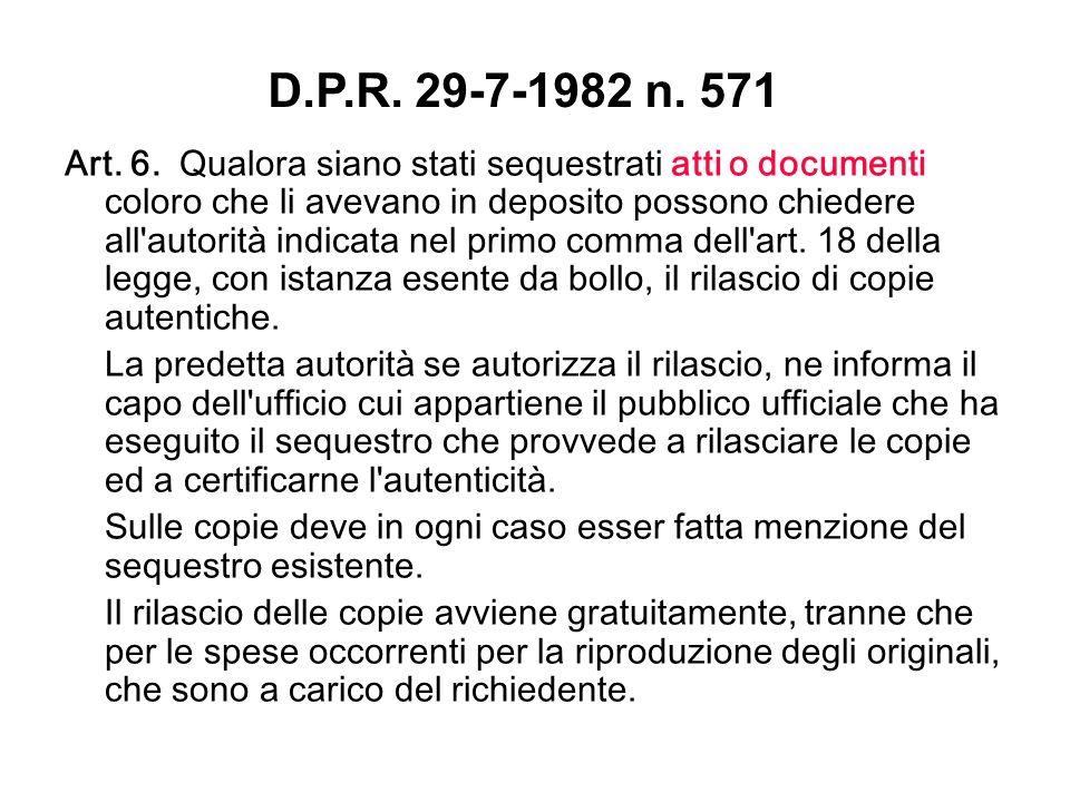 D.P.R. 29-7-1982 n. 571