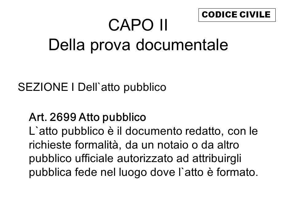 CAPO II Della prova documentale
