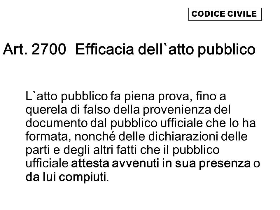 Art. 2700 Efficacia dell`atto pubblico