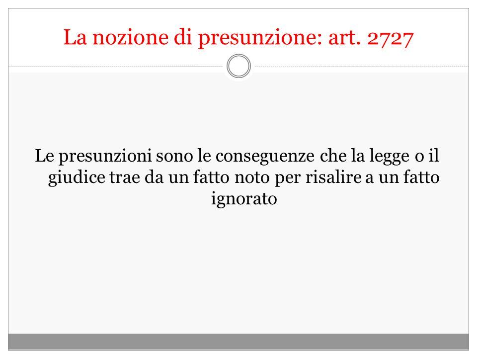 La nozione di presunzione: art. 2727