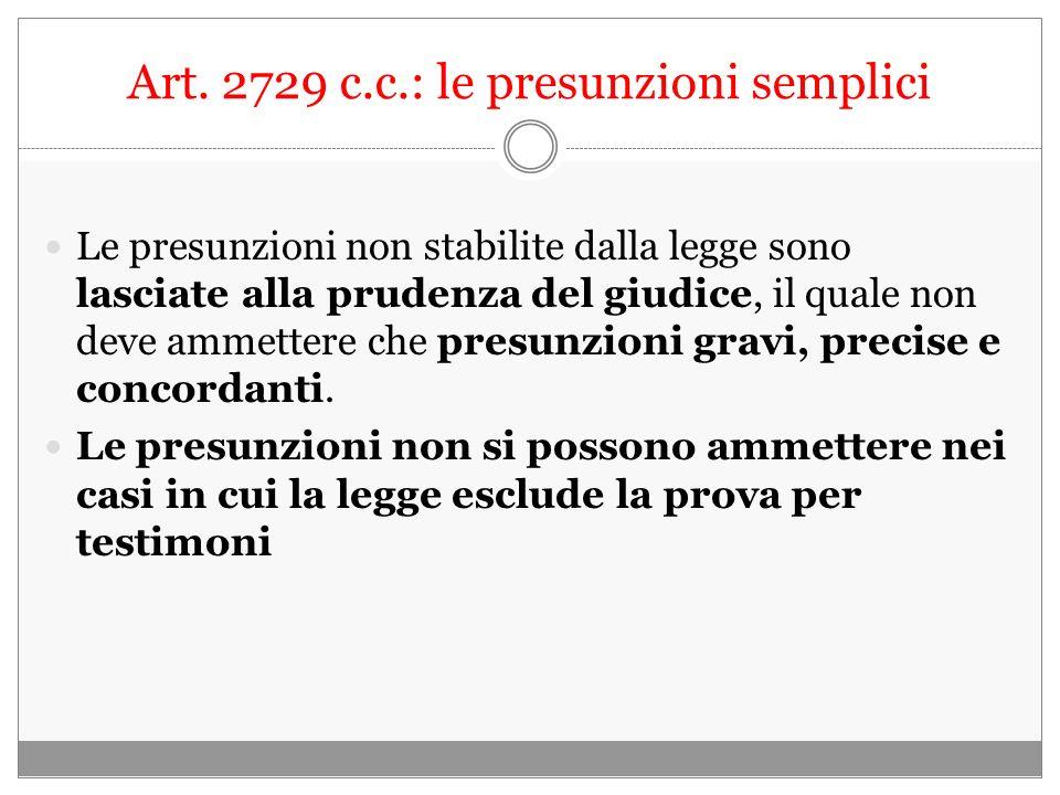 Art. 2729 c.c.: le presunzioni semplici