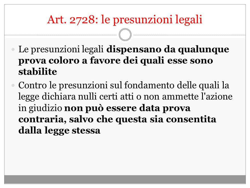 Art. 2728: le presunzioni legali